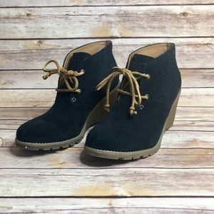 Sperry Topsiders Suede Leather Wedge Booties